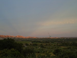 The Alpilles mountains light by themselves in the background