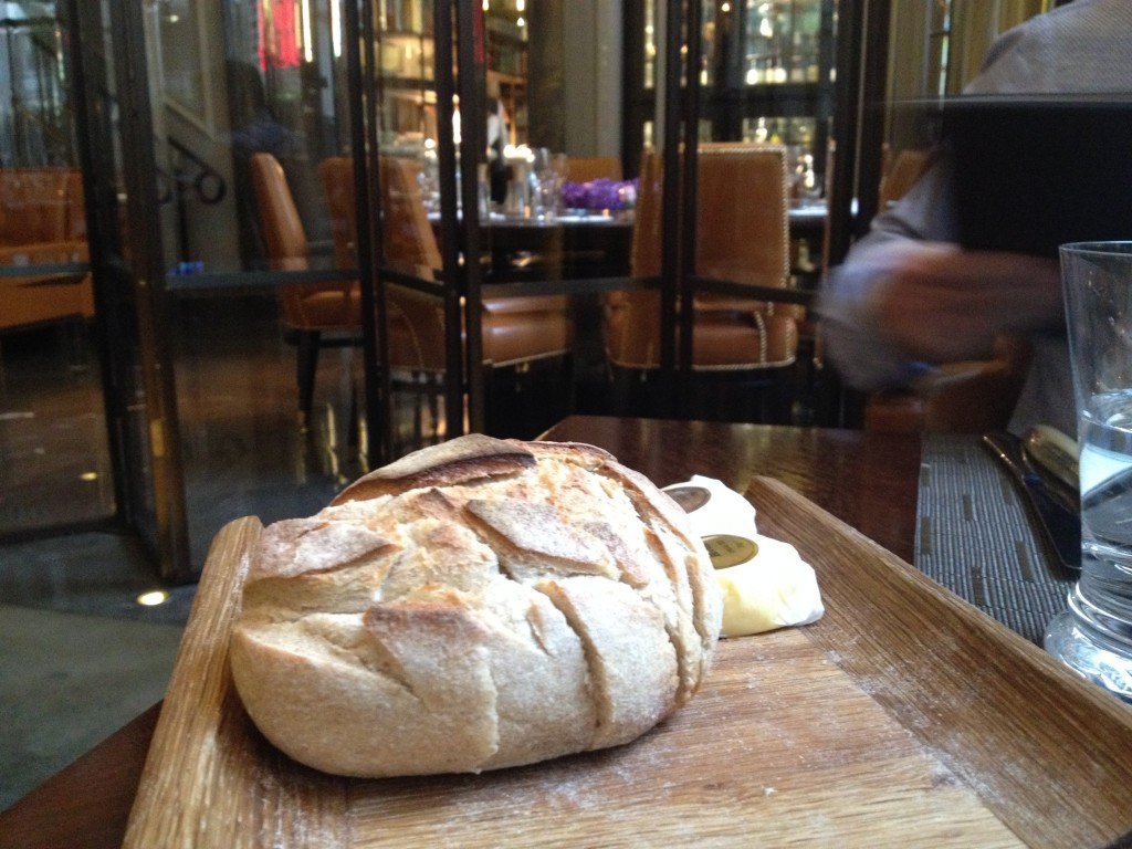 Complimentary warm home-made rustic bread loaf