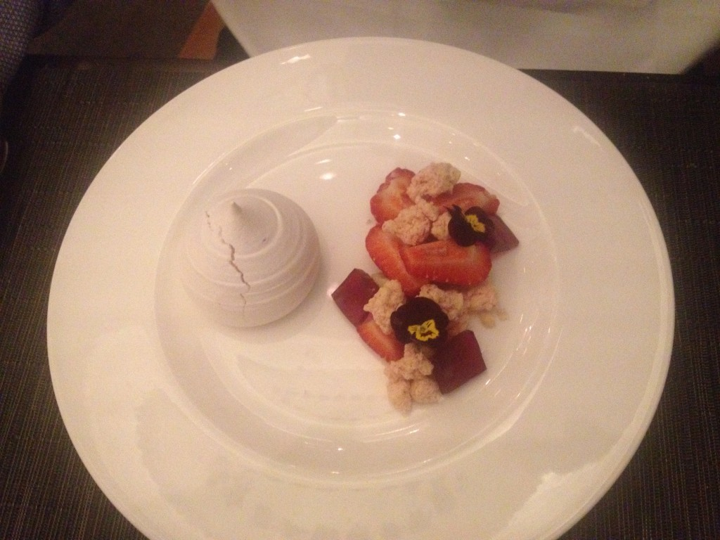 Strawberry Pavlova  Roasted Vanilla Ganache, Elderflower, Strawberry Crumble