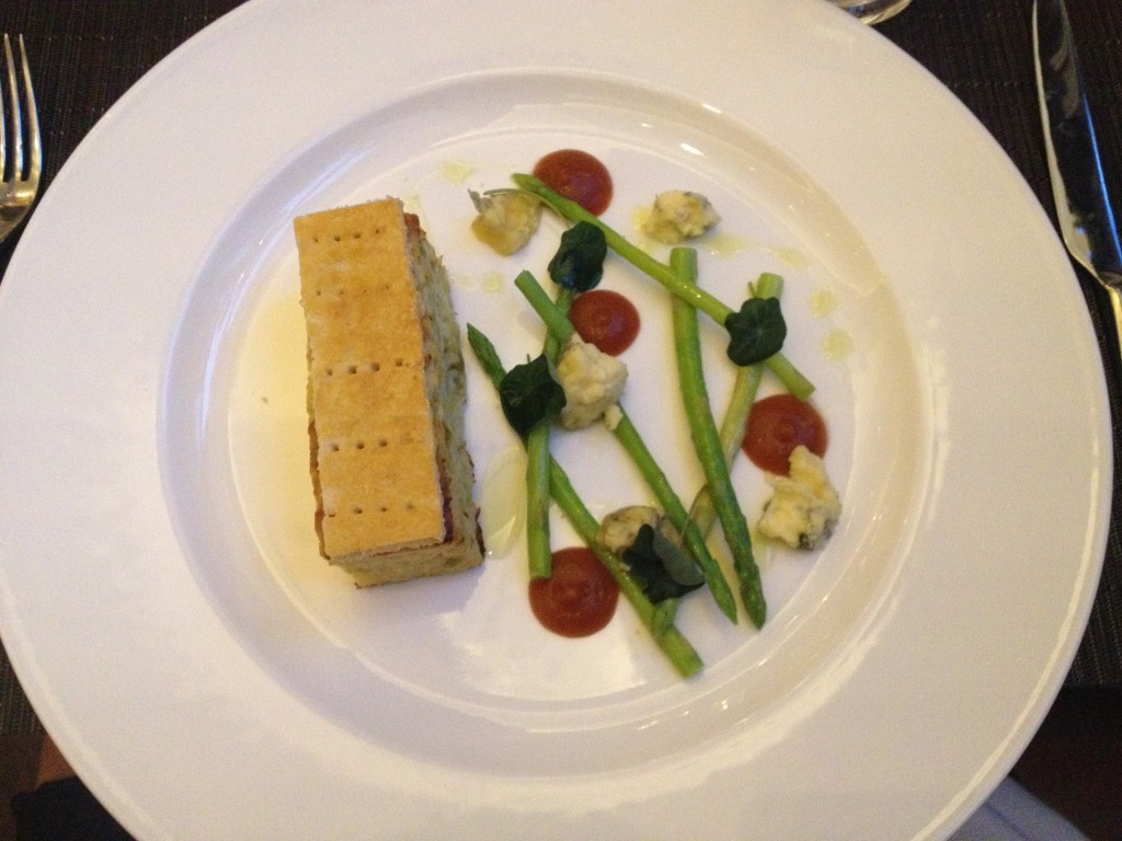 English Leek and Stilton Tart, Wild Asparagus, Tomato Jam, with Cider Butter Sauce