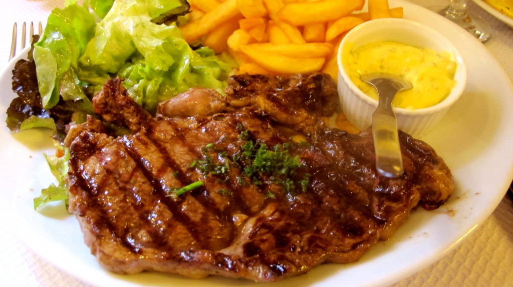 Tasty Entrecote with home made fries and beanaise sauce at Le Fouquet